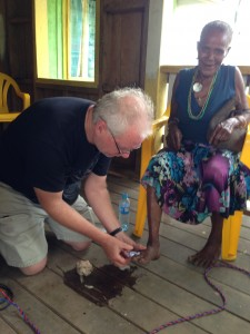 Treating a Kwaio woman's foot
